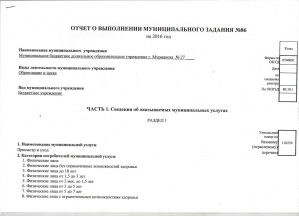 Отчет о выполнении муниципального задания за 2016 год